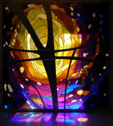 Stained glass panel created by Concordia University, Nebraska's Center for Liturgical Arts