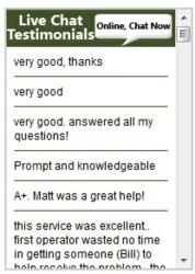 Live chat feedback