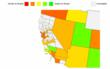 Heat Map of Hiring Scales for Computer Programmers in California - County View