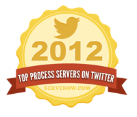 Top Process Servers on Twitter 2012 Badge - ServeNow