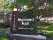 Highland Hall Entrance Sign