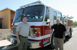 Bill Stipp (right), EMCC Fire Science Program Director and Ed Pahl (left), EMCC Fire Academy Director.