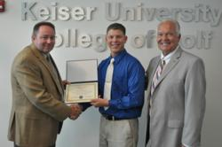 John McMurray, vice president of Keiser University College of Golf, Timmy Lynn King Jr., Award Recipient and Dr. Eric Wilson, executive director of golf operatons, Keiser University College of Golf.