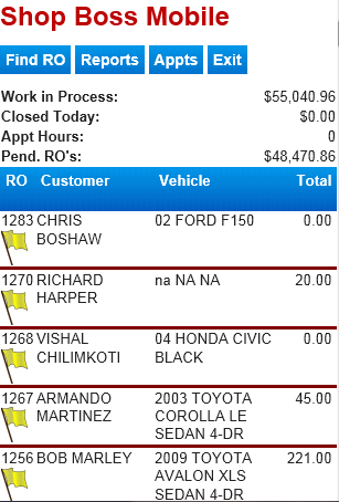 Auto Repair Industry Statistics on Home Page Of Shop Boss Mobile With Current Work List And Statistics