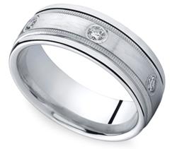 Inset Milgrain Men's Wedding Ring in Palladium