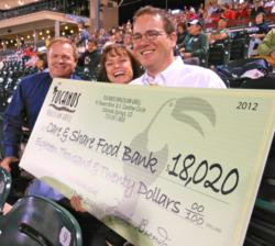 Tucanos and Care and Share with giant check