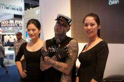Zombie Boy made a special guest appearance at the iSkin booth during 2012 MacWorld
