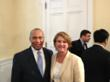 Carrie Cullen Hitt with Gov. Deval Patrick (Credit: SEIA)