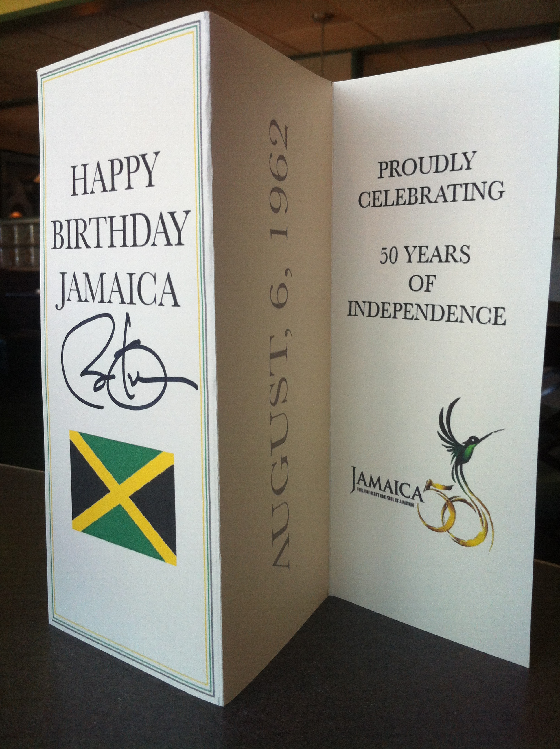 Mullings Family to Donate Birthday Card for Jamaicas 50th Year of – Birthday Card from the President