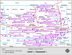 Map of Marcellus Shale gas well permits issued for Bradford County, PA from Jan-Jun 2012