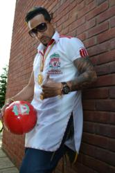 Jazzy B sporting his custom made Punjabi LFC shirt