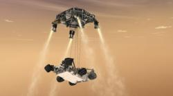 NASA's Curiosity rover sky crane maneuver.