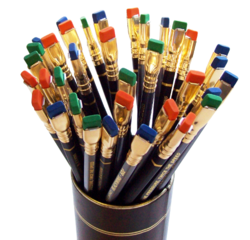 Blackwing pencils with green, blue and orange erasers.