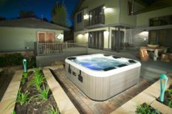 hot tub in a family backyard