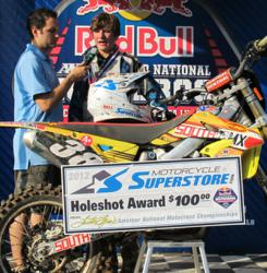Finishing second overall in the 250 C Stock class, Addison Emory IV took the Holeshot Award in the third Moto.