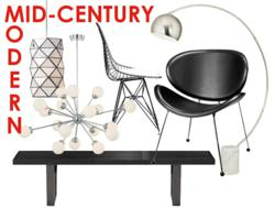 Mid-century Modern furniture and lighting fixtures