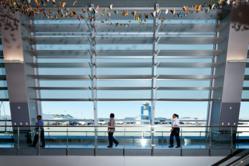 Solar shading panels at McCarran International Airport Terminal 3