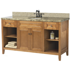 Pegasus Exhibit 60 Inch Bathroom Vanity With Rich Cinnamon Finish ...