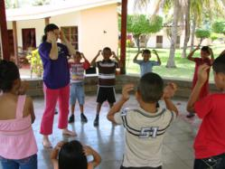 Dahn Yoga instructor, Rebecca Wheaton with class in Nicaragua