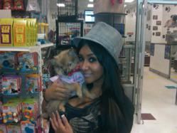 "Nicole ""Snookie"" Polizzi with her Pomeranian pup, Gia"