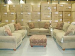 Broyhill Daniel Sofa Group in Khaki Upholstery at InteriorMark's warehouse.