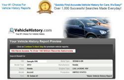 Basic VehicleHistory.com Report