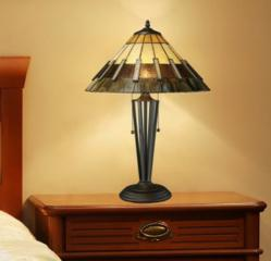 Porterdale 2 Light Table Lamp In Tiffany Bronze With Tiffany Glass Shade by Dimond Lighting