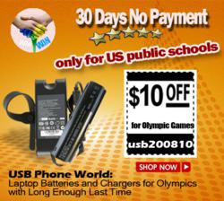 USB Phone World: Laptop Batteries and Chargers for Olympics with Long Enough Last Time