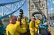 The Jive Aces on London's Tower Bridge, promoting drug-free living to London Olympics fans