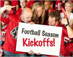 Football sports team flags and banners