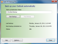Backup your Outlook automatically or manually using Safe PST Backup.