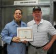 Lee N. Polite Ph.D Instructor and Jon Woolsey with Certificate of Recognition