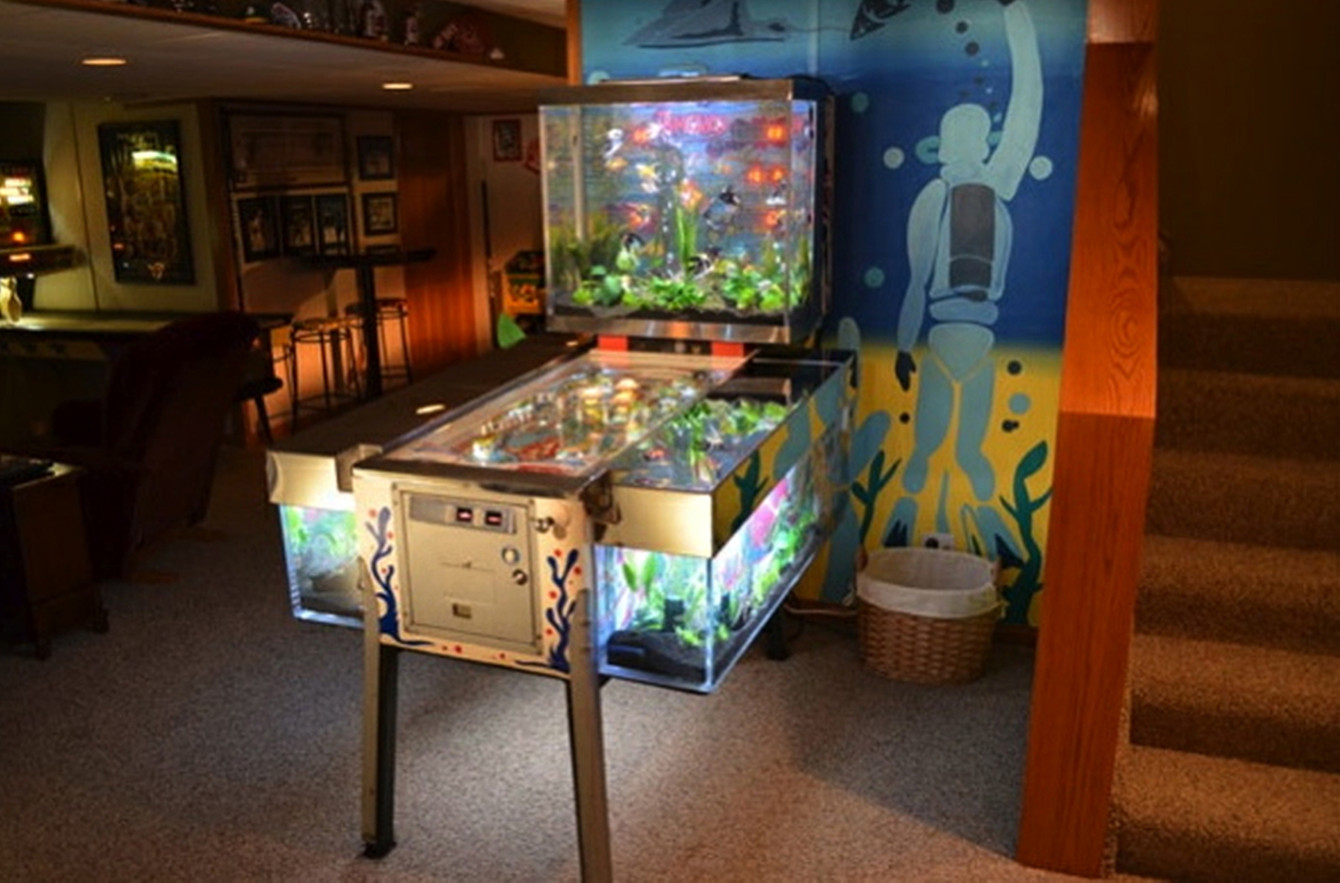 Used aquarium fish tank for sale - Acrylic Tank Manufacturing Built This Unusual Pinball Machine Fish Tank For The Tv Show Tanked An Advanced Roland Large Format Inkjet Printer Was Used To