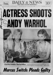 Actress Shoots by Andy Warhol in Daily Newspaper