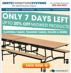 Hertz Furniture's Midwest Sale: Discounts on tables, stages & risers.