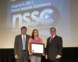 Brandi Head (center) is presented a NSSC Certificate of Achievement from Christopher Scolese (left), director, Goddard Space Flight Center; and Michael Smith (right), executive director, NSSC.