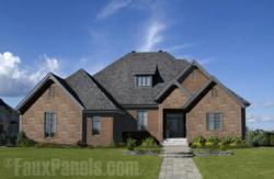 Fake stone siding panels with a realistic texture are a win for easy maintenance