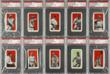 Ten of the rare, series E98 baseball cards recently discovered in an Ohio house attic will be exhibited by Heritage Auctions for the first time on the West Coast at the Long Beach, California Coin, Stamp & Collectibles Expo, Sept. 6 - 8, 2012.  (Photo courtesy of Heritage Auctions.)