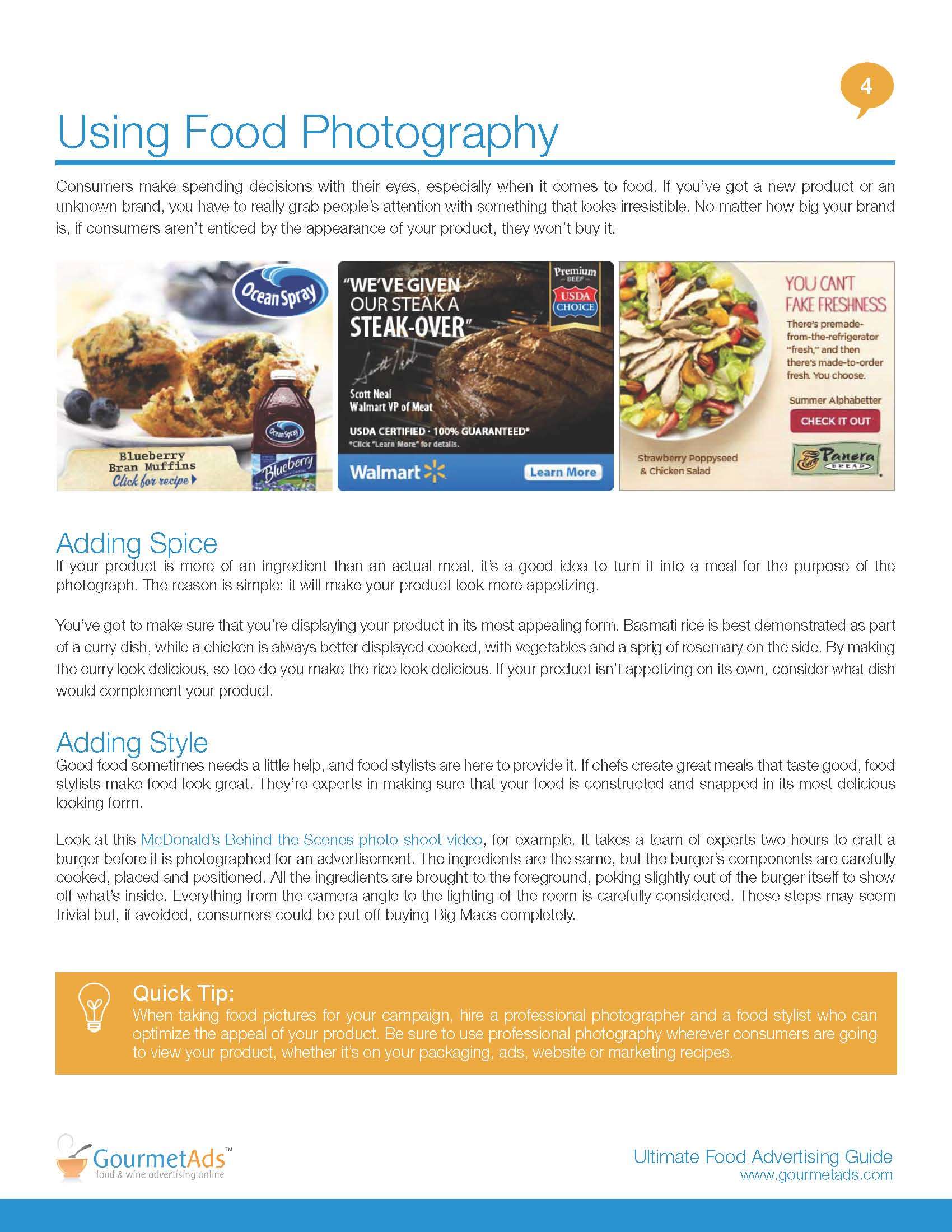 global ad network gourmet ads offers tips for food manufacturers ultimate guide to food advertising online using photographywhitepaper page using photography