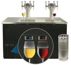 wine on tap system with two glasses of recently poured wine from wine kegs.