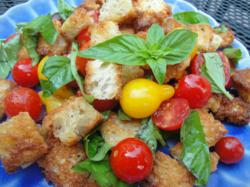 Carol Fenster uses locally-gorwn tomatoes in the bread salad Panzanella.