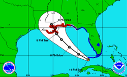The National Hurricane Center Forecast Track for Hurricane Isaac
