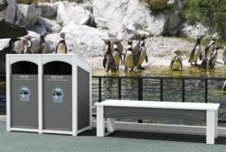 Double Recycling Station & Bench at Zoo
