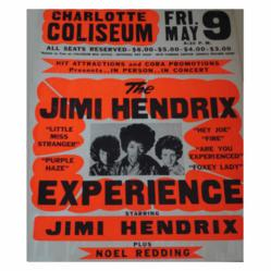 Vintage 1969 Jimi Hendrix Charlotte Coliseum Concert Poster