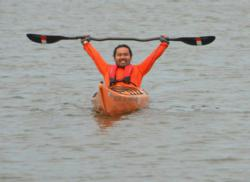 XT50 Athlete Hector Manley celebrates paddling the entire Mississippi River