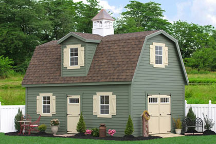 Discounted wooden barns and garden tool sheds from sheds for Two story shed house
