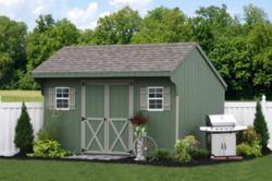 Wooden farm sheds and bicycle sheds