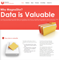 Home page for MagnaStor, a product that protects valuable data.