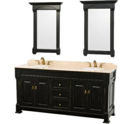 Wyndham Collection Andover 72 Inch Traditional Bathroom Double Vanity In Black