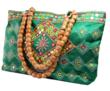 Trendy Beaded Handle Bag In Emerald Green